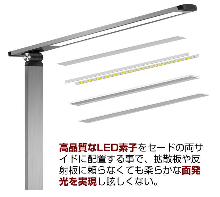 両サイドの素子を配置したLEDデスクライト illuminous(イルミナス)